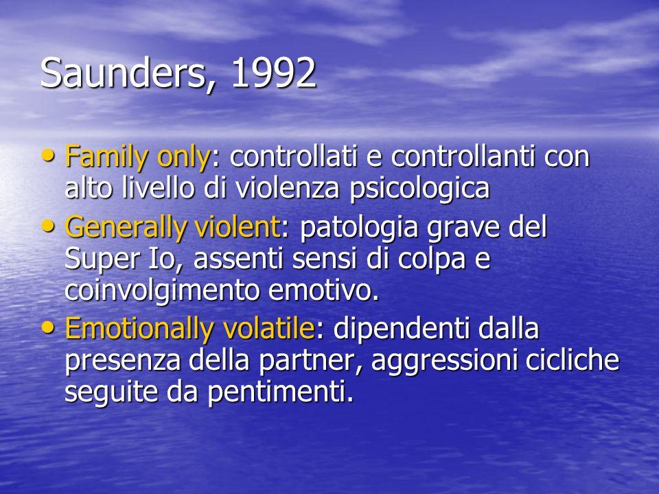 Saunders, 1992 Family only: controllati e controllanti con alto livello di violenza psicologica.