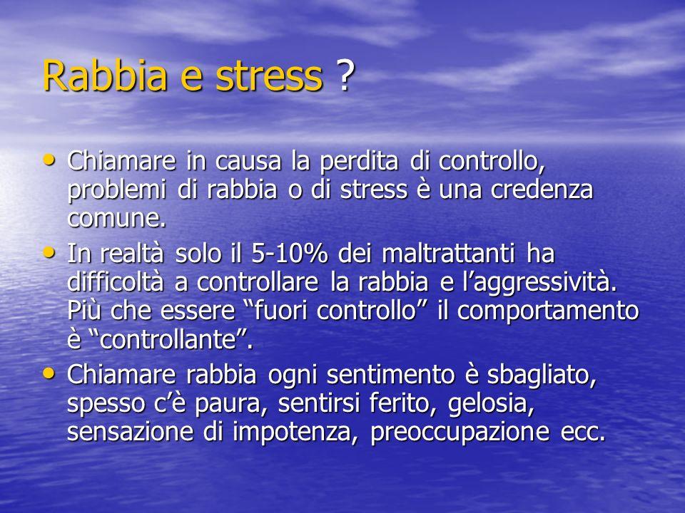 Rabbia e stress Chiamare in causa la perdita di controllo, problemi di rabbia o di stress è una credenza comune.