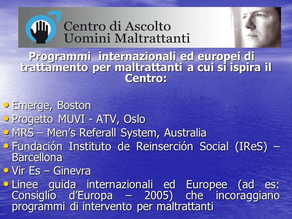 Programmi internazionali ed europei di trattamento per maltrattanti a cui si ispira il Centro: