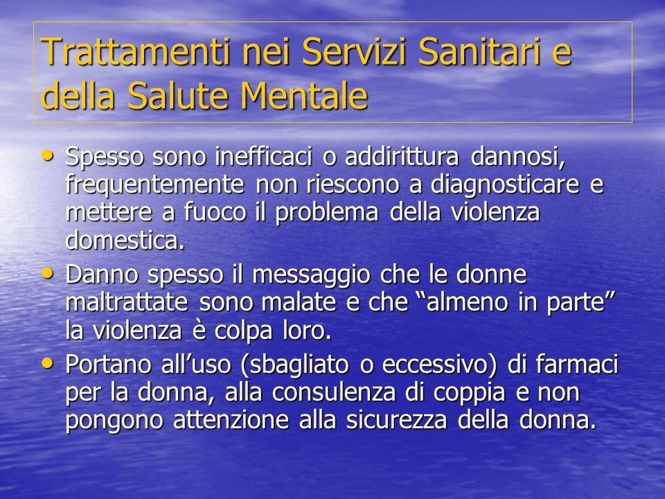 Trattamenti nei Servizi Sanitari e della Salute Mentale