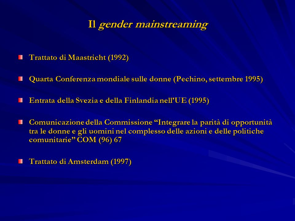 Il gender mainstreaming