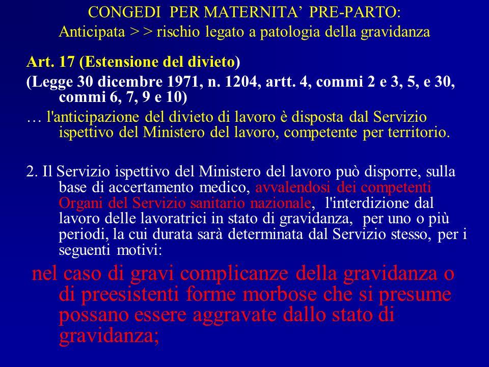 CONGEDI PER MATERNITA' PRE-PARTO: Anticipata > > rischio legato a patologia della gravidanza