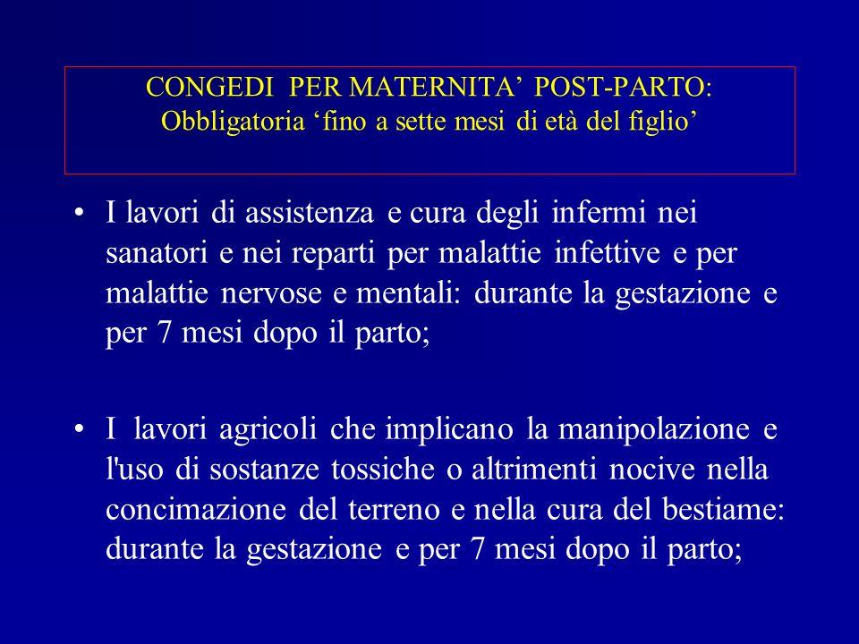 CONGEDI PER MATERNITA' POST-PARTO: Obbligatoria 'fino a sette mesi di età del figlio'