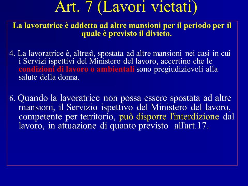 Art. 7 (Lavori vietati) La lavoratrice è addetta ad altre mansioni per il periodo per il quale è previsto il divieto.