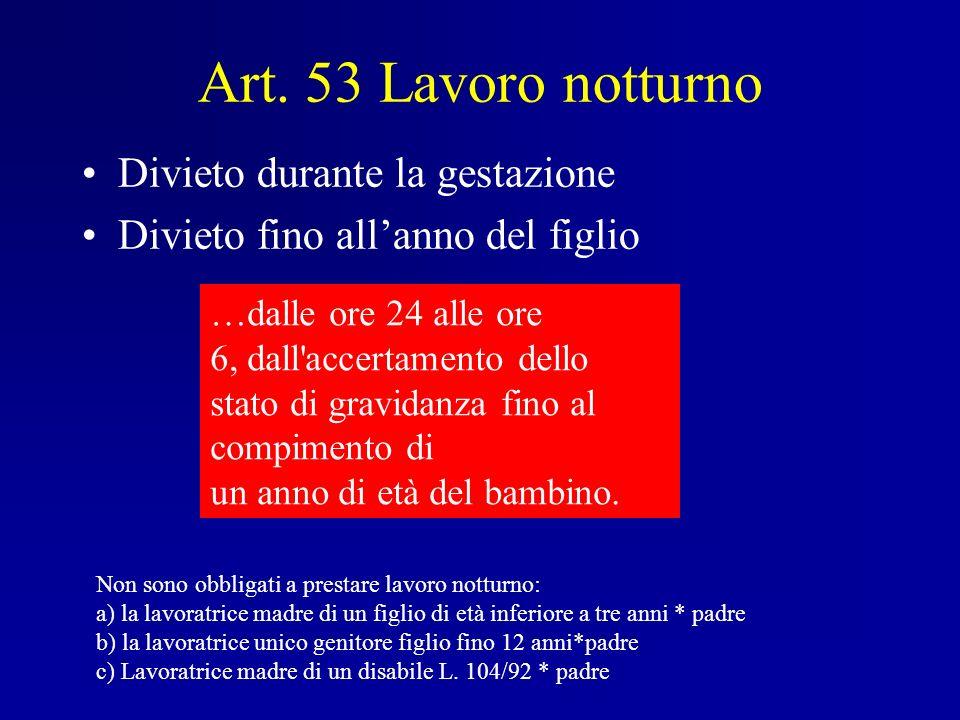 Art. 53 Lavoro notturno Divieto durante la gestazione