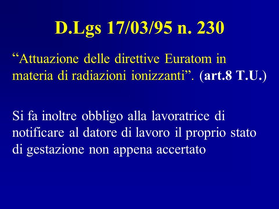 D.Lgs 17/03/95 n. 230 Attuazione delle direttive Euratom in materia di radiazioni ionizzanti . (art.8 T.U.)