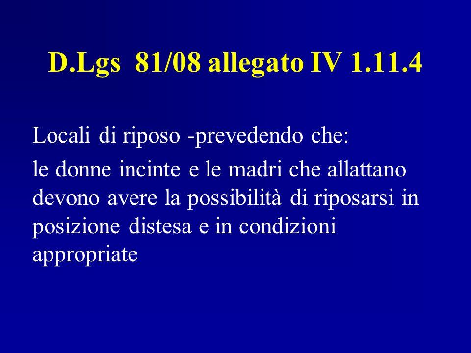 D.Lgs 81/08 allegato IV 1.11.4 Locali di riposo -prevedendo che: