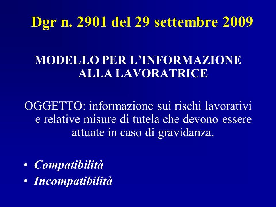 MODELLO PER L'INFORMAZIONE ALLA LAVORATRICE