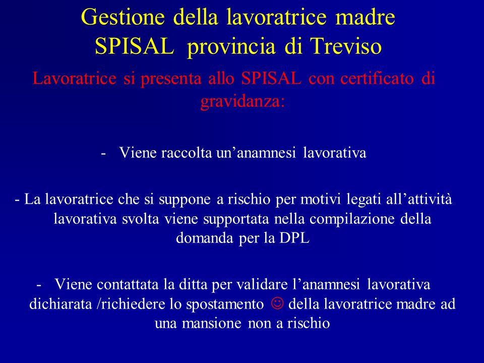 Gestione della lavoratrice madre SPISAL provincia di Treviso