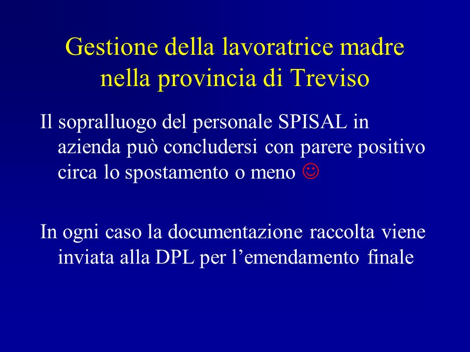 Gestione della lavoratrice madre nella provincia di Treviso
