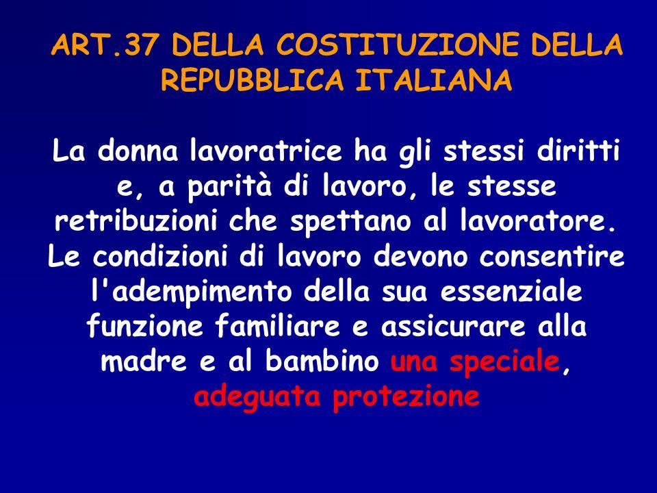 ART.37 DELLA COSTITUZIONE DELLA REPUBBLICA ITALIANA