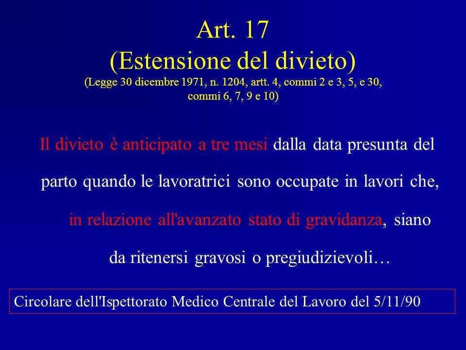 Art. 17 (Estensione del divieto) (Legge 30 dicembre 1971, n. 1204, artt. 4, commi 2 e 3, 5, e 30, commi 6, 7, 9 e 10)
