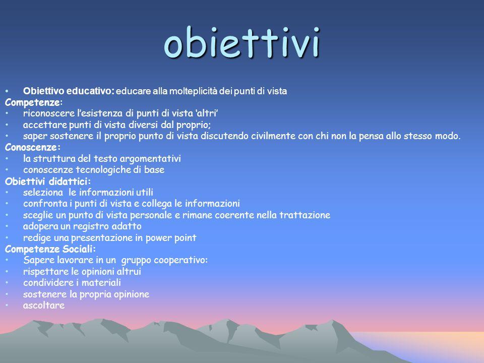 obiettivi Obiettivo educativo: educare alla molteplicità dei punti di vista. Competenze: riconoscere l'esistenza di punti di vista 'altri'
