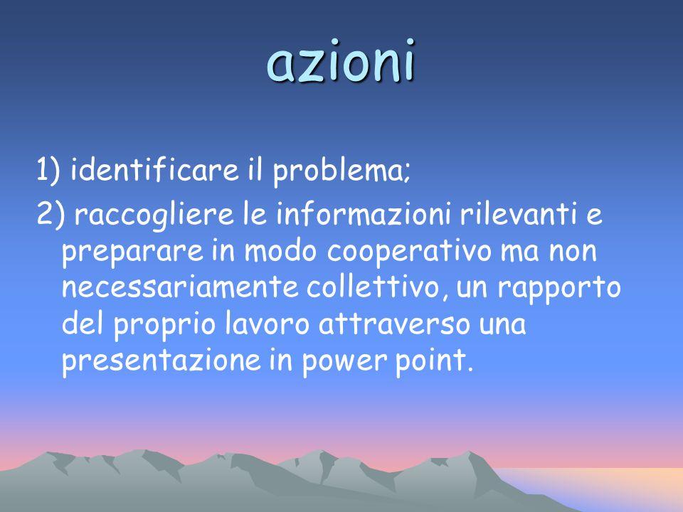 azioni 1) identificare il problema;