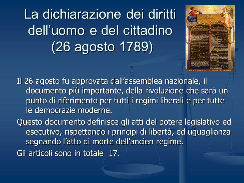 La dichiarazione dei diritti dell'uomo e del cittadino (26 agosto 1789)