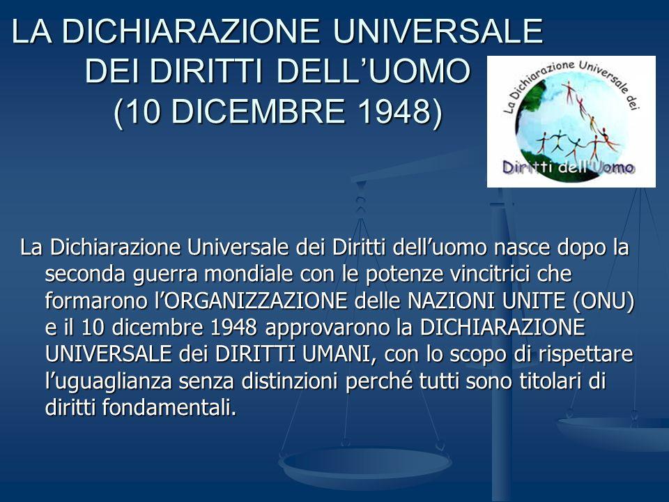 LA DICHIARAZIONE UNIVERSALE DEI DIRITTI DELL'UOMO (10 DICEMBRE 1948)