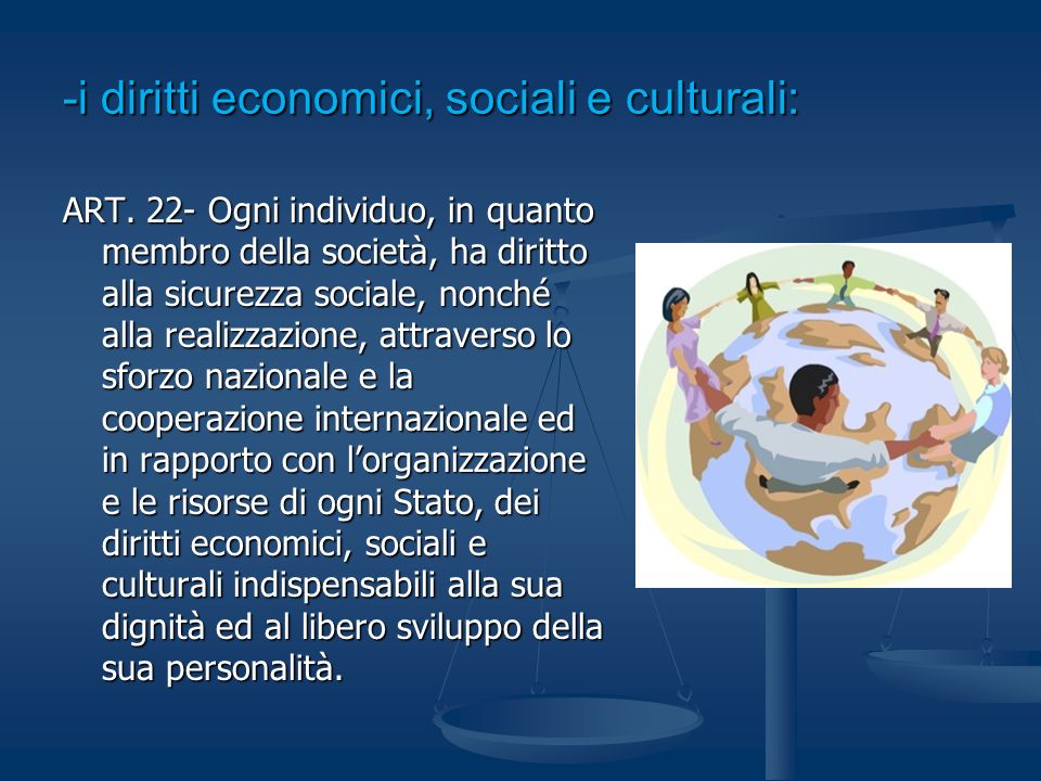 -i diritti economici, sociali e culturali: