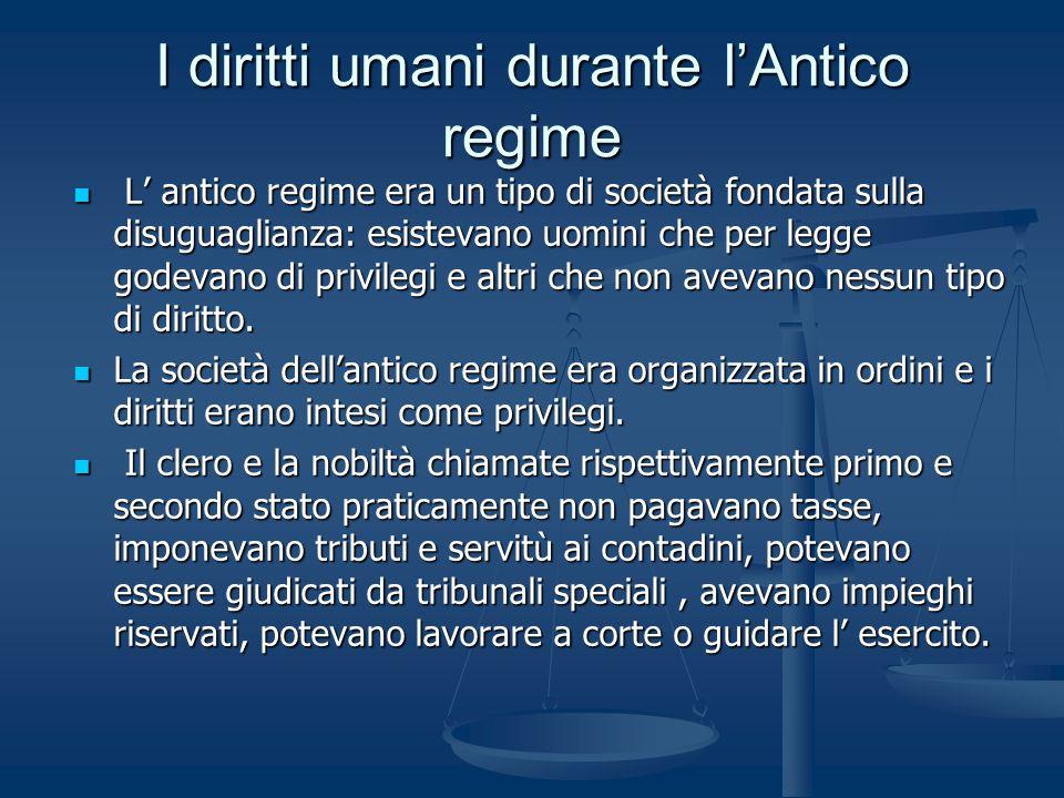 I diritti umani durante l'Antico regime