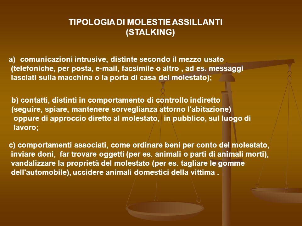 TIPOLOGIA DI MOLESTIE ASSILLANTI (STALKING)