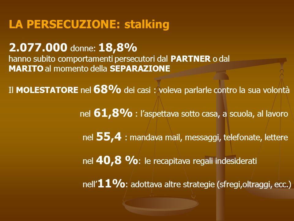 LA PERSECUZIONE: stalking