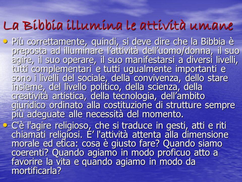 La Bibbia illumina le attività umane