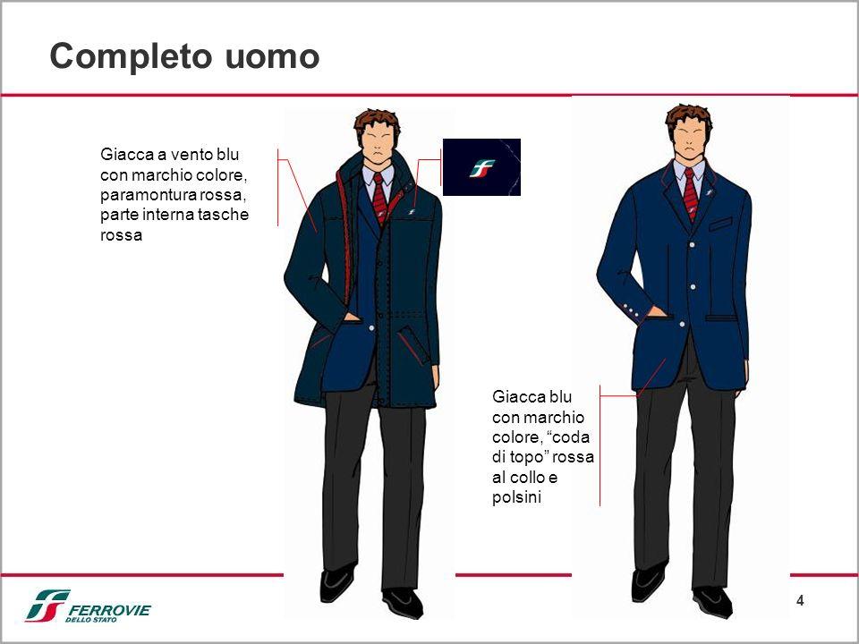 Completo uomo Giacca a vento blu con marchio colore, paramontura rossa, parte interna tasche rossa.