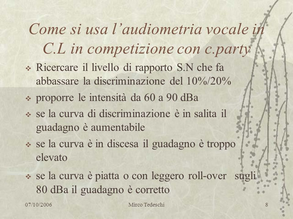 Come si usa l'audiometria vocale in C.L in competizione con c.party