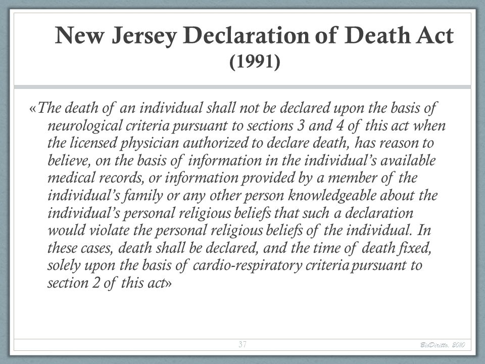 New Jersey Declaration of Death Act (1991)
