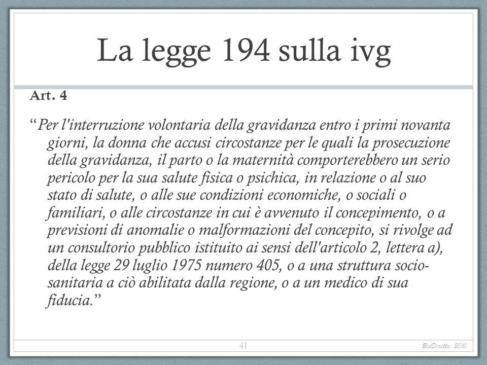 La legge 194 sulla ivg Art. 4.