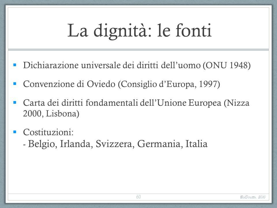 La dignità: le fonti Dichiarazione universale dei diritti dell'uomo (ONU 1948) Convenzione di Oviedo (Consiglio d'Europa, 1997)