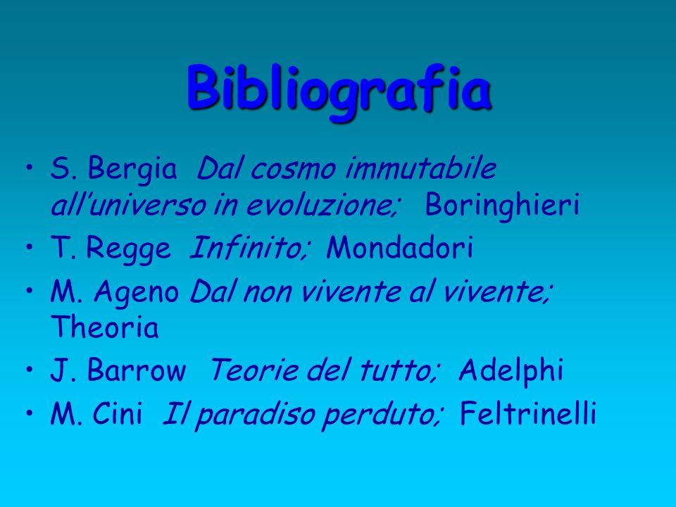 Bibliografia S. Bergia Dal cosmo immutabile all'universo in evoluzione; Boringhieri. T. Regge Infinito; Mondadori.