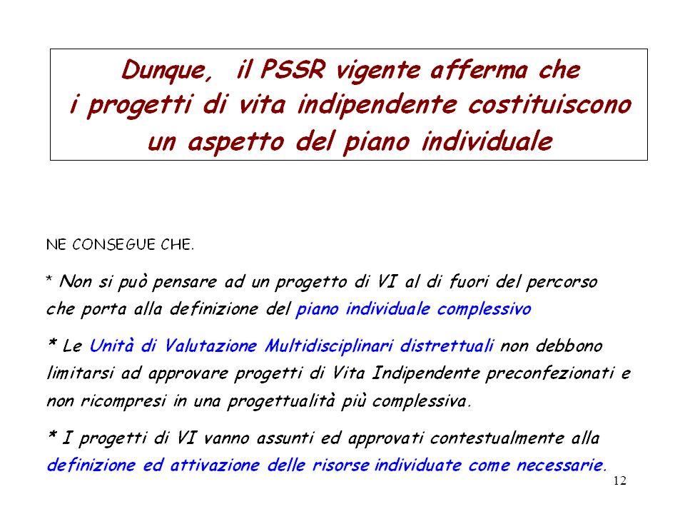Dunque, il PSSR vigente afferma che i progetti di vita indipendente costituiscono un aspetto del piano individuale.