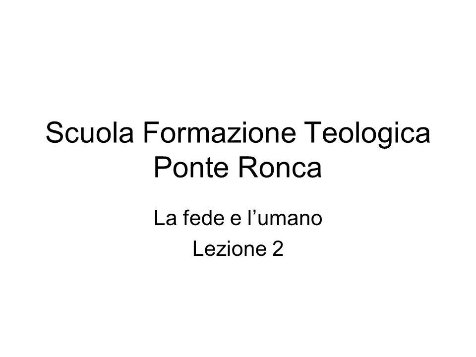 Scuola Formazione Teologica Ponte Ronca