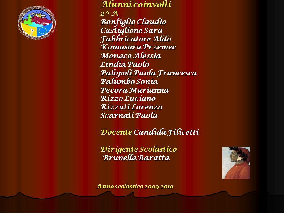 Alunni coinvolti 2^ A Bonfiglio Claudio Castiglione Sara