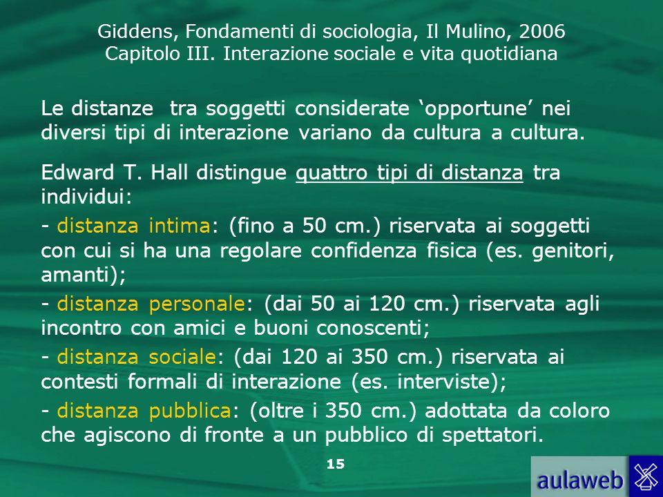Le distanze tra soggetti considerate 'opportune' nei diversi tipi di interazione variano da cultura a cultura.