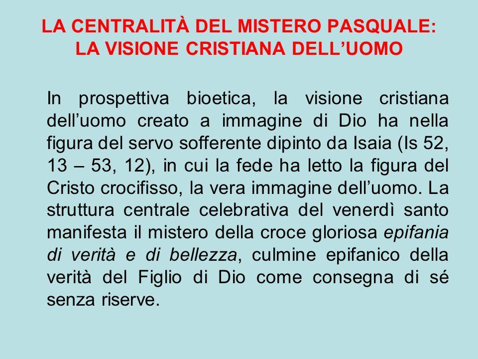 LA CENTRALITÀ DEL MISTERO PASQUALE: LA VISIONE CRISTIANA DELL'UOMO