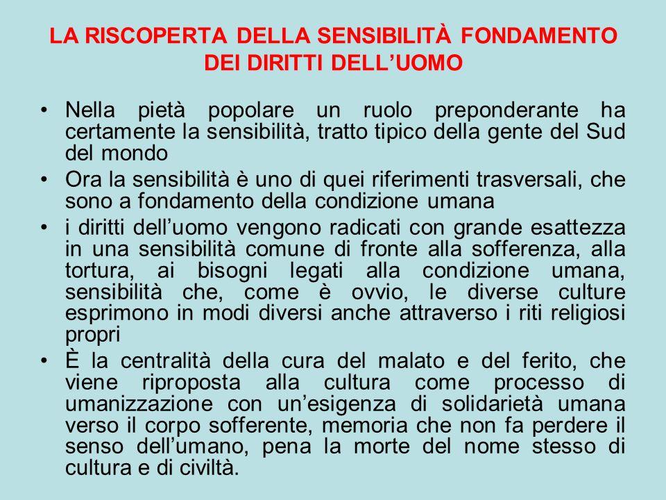 LA RISCOPERTA DELLA SENSIBILITÀ FONDAMENTO DEI DIRITTI DELL'UOMO