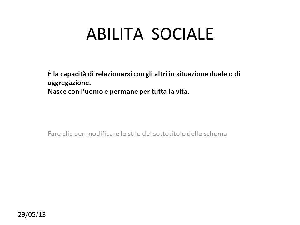 ABILITA SOCIALE È la capacità di relazionarsi con gli altri in situazione duale o di aggregazione.