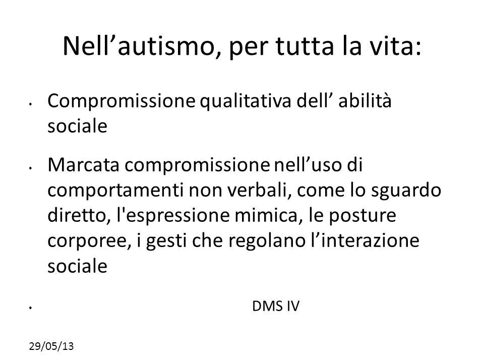Nell'autismo, per tutta la vita: