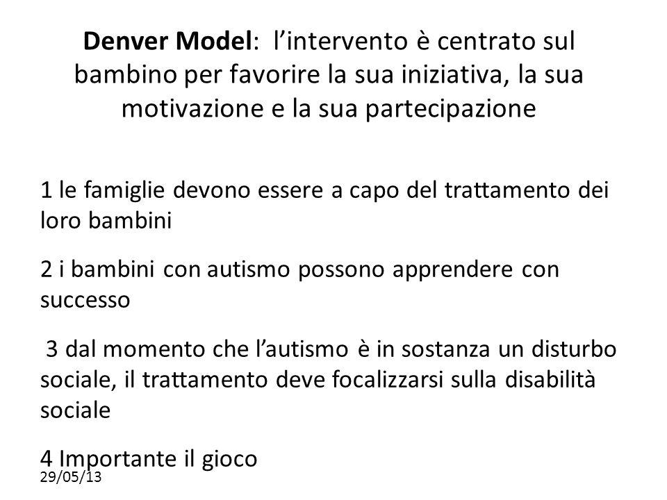 Denver Model: l'intervento è centrato sul bambino per favorire la sua iniziativa, la sua motivazione e la sua partecipazione