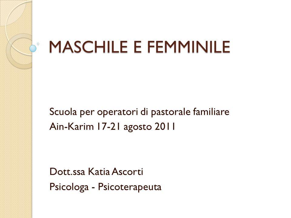MASCHILE E FEMMINILE Scuola per operatori di pastorale familiare