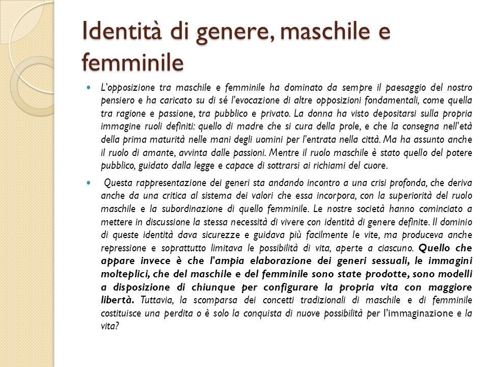 Identità di genere, maschile e femminile