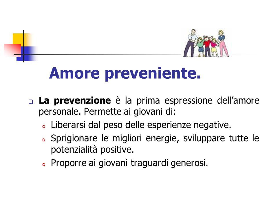 Amore preveniente. La prevenzione è la prima espressione dell'amore personale. Permette ai giovani di: