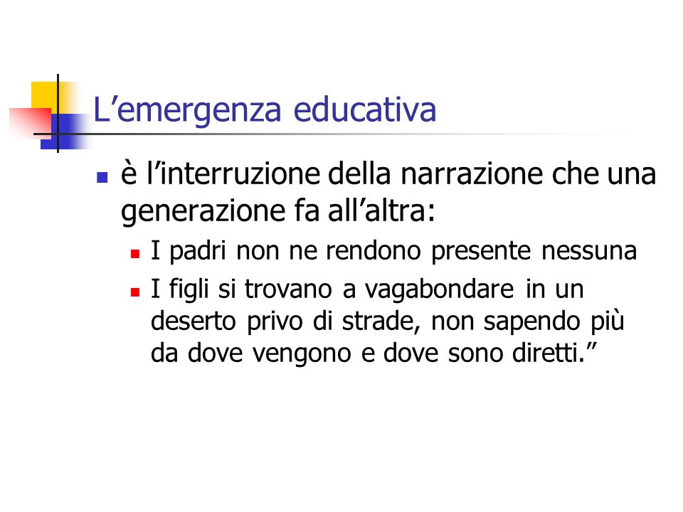 L'emergenza educativa