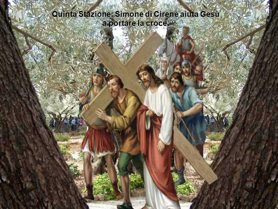 Quinta Stazione: Simone di Cirene aiuta Gesù a portare la croce.