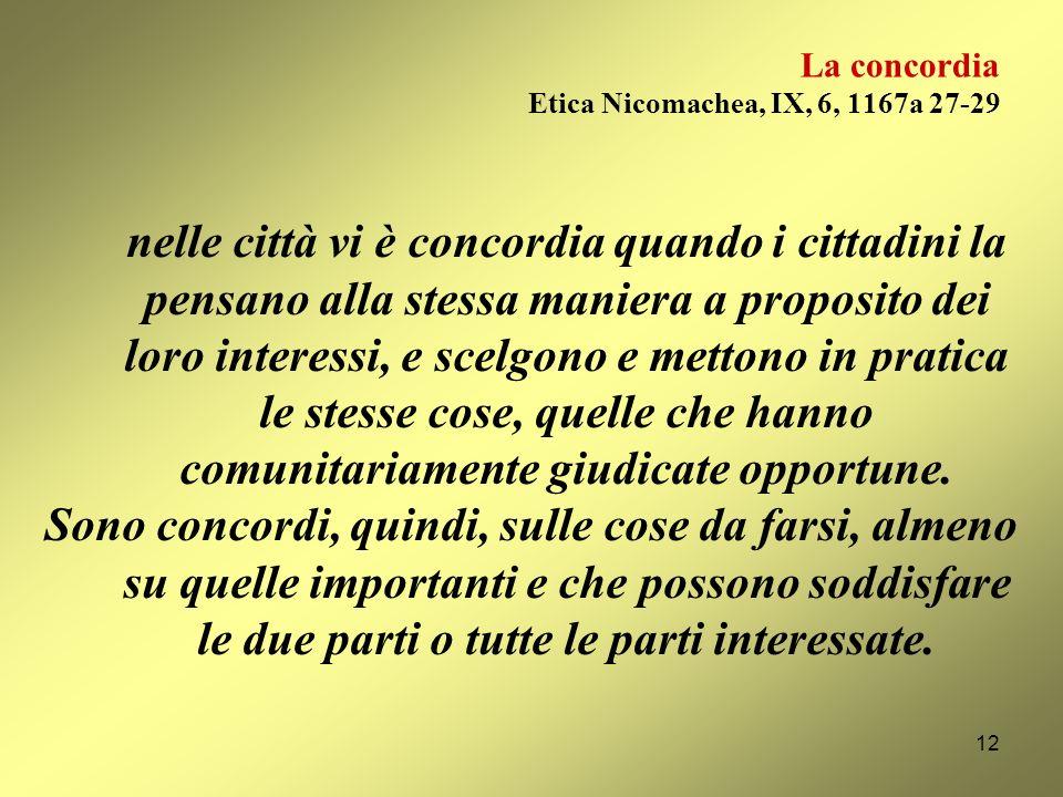 La concordia Etica Nicomachea, IX, 6, 1167a 27-29