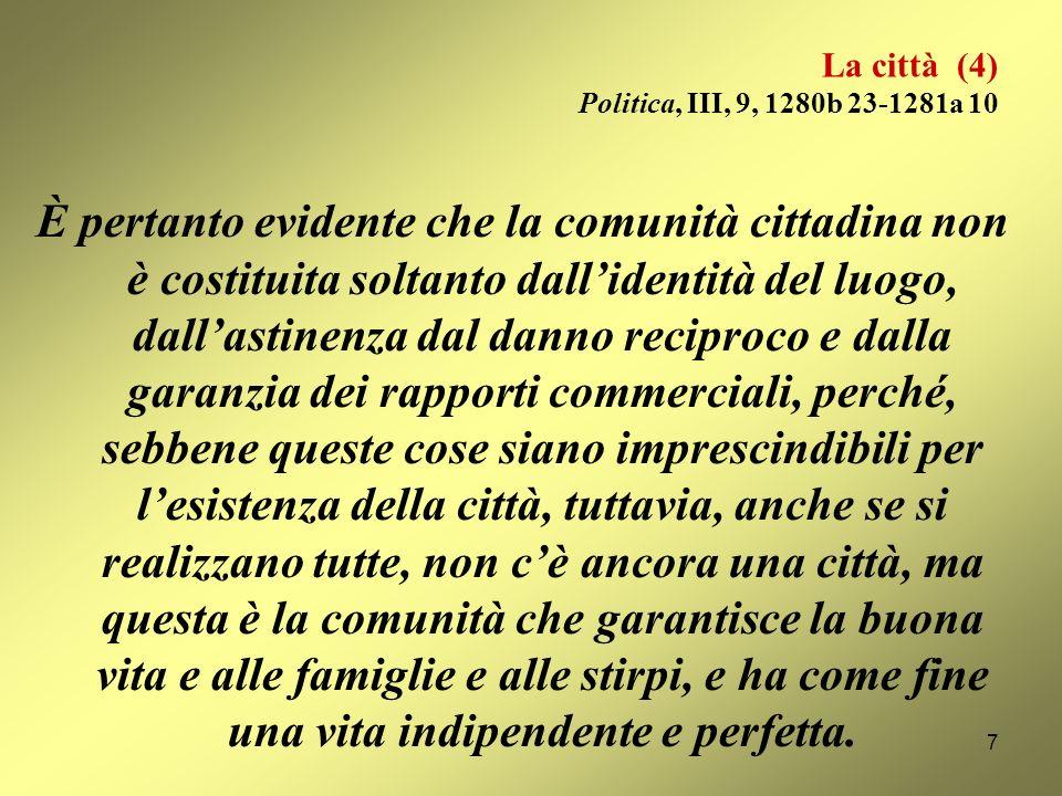 La città (4) Politica, III, 9, 1280b 23-1281a 10