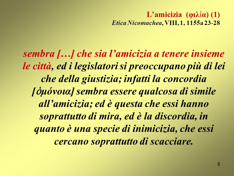L'amicizia (φιλία) (1) Etica Nicomachea, VIII, 1, 1155a 23-28