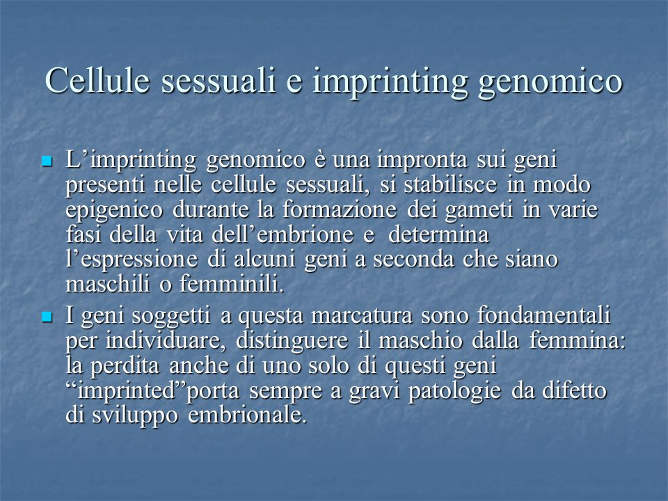 Cellule sessuali e imprinting genomico