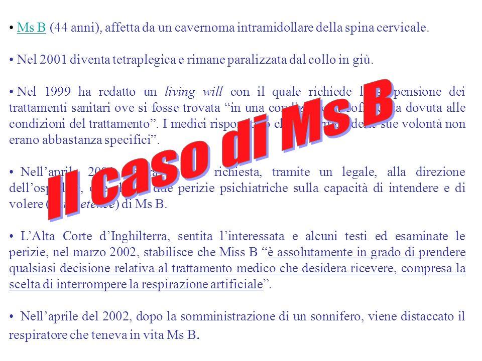 Ms B (44 anni), affetta da un cavernoma intramidollare della spina cervicale.